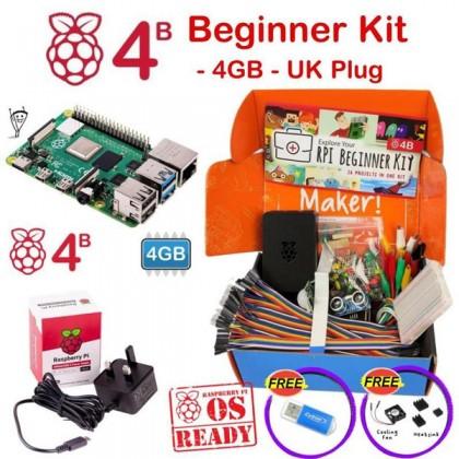 Raspberry Pi 4 Model B Beginner Kit-UK Plug 4GB